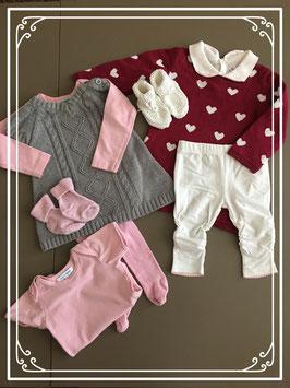 Twee gave setjes grijs/rood/roze inclusief sokjes - Maat 62-68