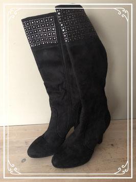 Zwarte hoge laarzen met hak - Maat 38