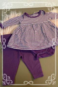 Nieuw! 2-delig paars setje van een romper met jurkje en legging maat 50/56