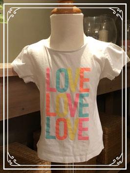 Wit T-shirt met Love letters - Maat 110