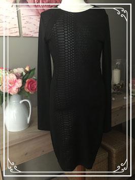 Zwarte jurk met slangenprint - Maat 32