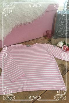 Roze-wit gestreepte longsleeve van Le Petit Breton - maat s