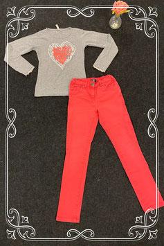 Roze broek van Teen Girls maat 146 en grijze longsleeve van persival maat 140/146