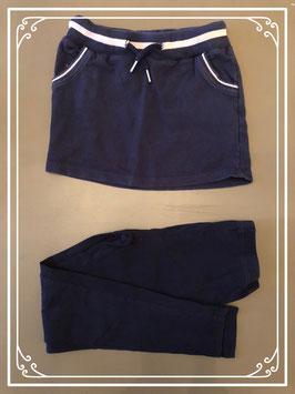 Donkerblauw sportief rokje met legging - Maat 128-134