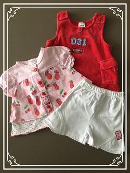 Set van 3 in de kleuren wit/rood/roze - maat 62