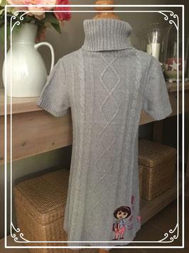 Gebreid grijs jurkje met Dora - maat 116
