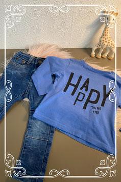 Schattige blauwe longsleeve en stoere spijkerbroek van Dutch Dream Denim maat 74