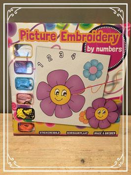 Bloemen borduurplaat met nummers