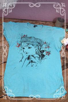 Lichtblauw t - shirt met print van het Merk - Teens Girls Maat - 164 - 170