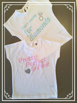 Witte T-shirtjes met opdruk - maat 92