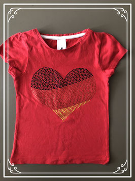 Rood shirt met glitteropdruk van palomino-maat 104