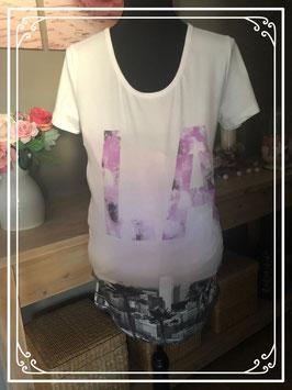 Wit korte mouwen shirt met grijs/paarse print van Mama Licious - Maat L