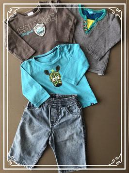 Spijkerbroek met drie verschillende lange mouwen shirts - Maat 56-62