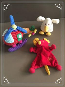 Setje babyknuffels met eendje - muisje en helikopertje