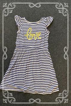 Blauw wit gestreept jurkje van H&M in maat 134/140