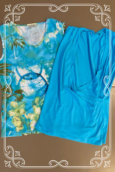 Bedrukte top van Miss Etam en effen blauwe top in maat S