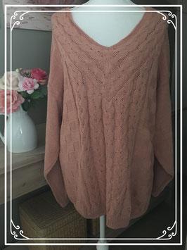 Gebreide oud roze trui van Label - maat 50-52