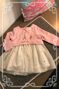 Roze-wit jurkje van het merk Disney Baby - maat 80