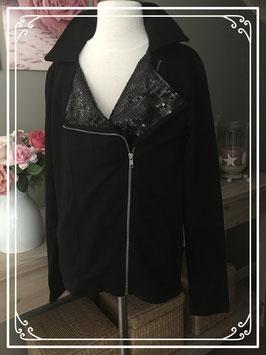 Nieuw : zwart jasje met glitter kraag - Maat S