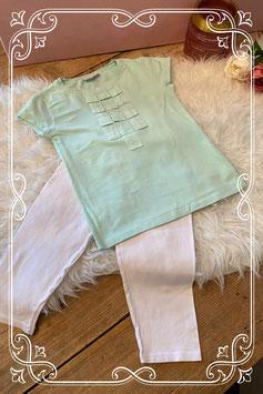 Groen T-shirt met witte legging - Maat 140