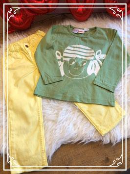 Gele broek van H&M met T-shirt van Bonbini in maat 86