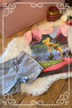 Tinker Bell shirt met korte spijkerbroek - Maat 134/140
