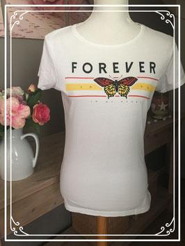 Wit T-shirt met vlinder opdruk - Maat 38