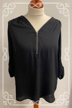 Lange zwarte doorschijnende blousetop van Atmosphere maat 48