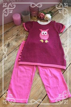 Gebreid uilen jurkje van de Hema met roze legging van Woezel & Pip - Maat 92