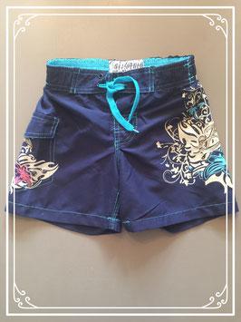 Donkerblauwe zwemshort met schitterende print - maat 110