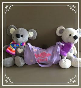 Twee muizen knuffels met tasje