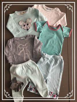 Turquoise en grijze setjes - Maat 50-56