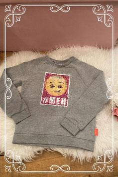 Grijze trui met tover pailetten emoji - maat 134-140