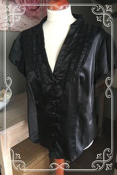 Zwart glimmende blouse van Inspire - Maat 56
