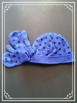 Paarse muts met wantjes - voor een meisje van 2 jaar