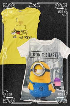 1 shirt van de Minions en 1 geel shirt van Milla maat 134/140