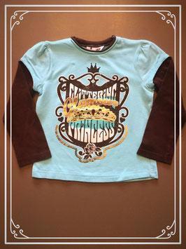 Blauw-bruin shirtje met dubbel-look - maat 110