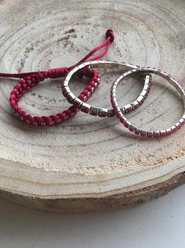 Set van 3 bordeaux rode armbandjes