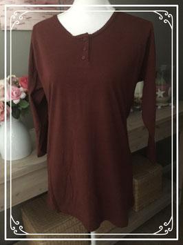 Bordeaux rode lange mouwen shirt - Maat M