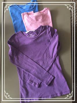 3 shirts lange mouwen - Maat 158-164