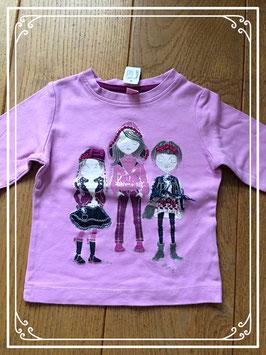 Roze shirtje met opdruk 3 meisjes - maat 98