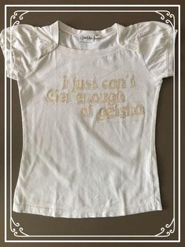 wit tshirt met boothals en tekst met strasssteentjes merk geisha - maat 128