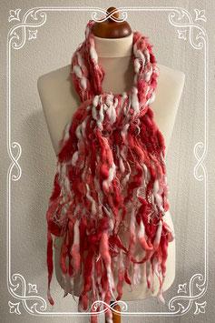 Leuke dames sjaal is roze met wit