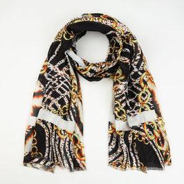 Michelle Bijou - Sjaal - Dieren print met chains - BLACK