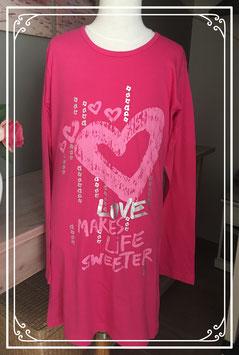 Roze jurk met hartjes print van SOHO - maat 158-164