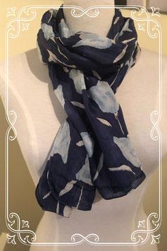Blauw zacht sjaaltje met tulpen