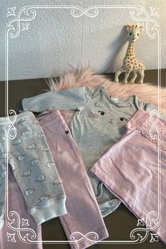 Vierdelig setje in de kleuren grijs met wit en roze - maat 68