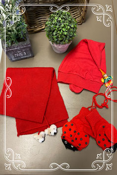 Vrolijke rode winterset 3-delig - van 3-6 jaar