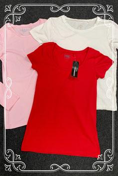 Nieuw! Rood en wit shirt van C&A en roze longsleeve in maat S