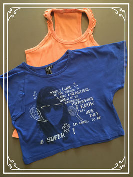 Blauw en oranje shirt - maat 152-158